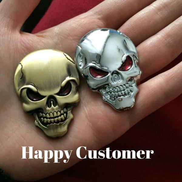 3D Skull Metal Sticker, Zinc Alloy, Black, Silver, Gold Color, 2 x 1.3 in