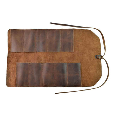 Handmade Roll Up Leather Tool Bag, 10 Slots, Brown