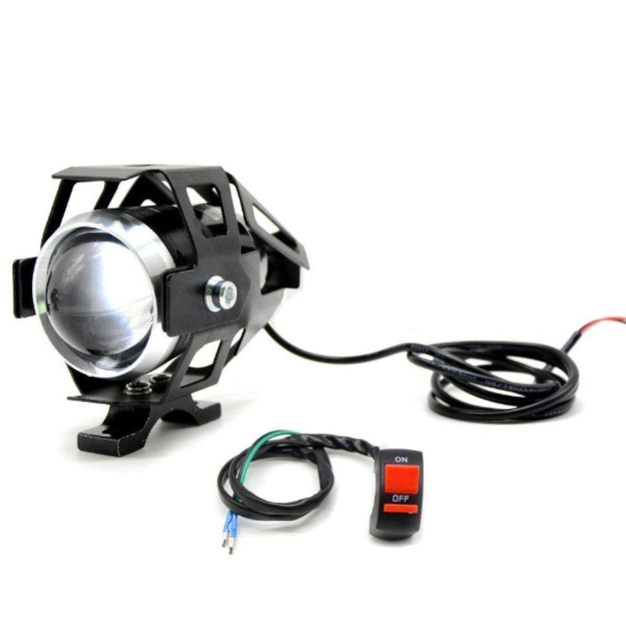 "Motorcycle 2pcs 5"" LED Front Fog Lights Spotlights with Switch, 3 Modes Flash/Dimmed/Full, 125W, White Color Light"