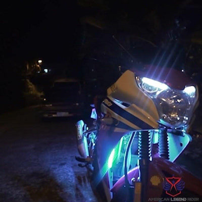 Motorcycle 6x LED Lights Ultra Flexible Strips, Rgb, Waterproof, w/ Remote Controller - American Legend Rider