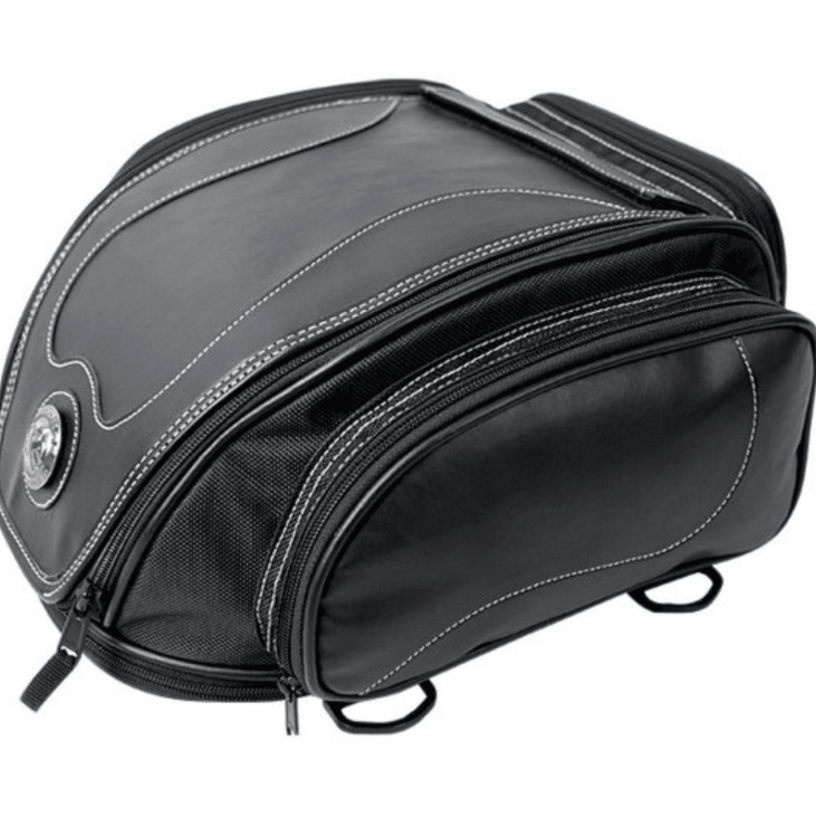 Universal Motorcycle Retro Tail Bag with Waterproof Cover, Leather/Durable Fiber, 7.1 x 9.5 x 14.2 in, Black - American Legend Rider
