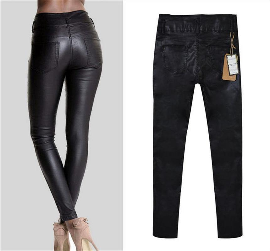 Women's Elegant Skinny Black PU Leather Pants w/ High Waist - American Legend Rider