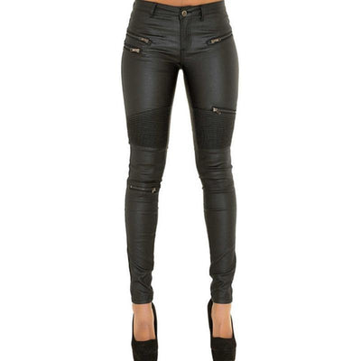 Women's Chick PU Leather Sexy Skinny Pants, Black
