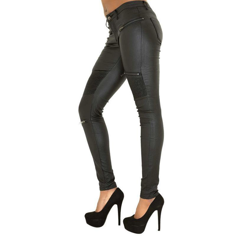 Women's Chick PU Leather Sexy Skinny Pants, Black - American Legend Rider
