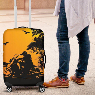 Biker Silhouette Luggage Cover, Polyester/Spandex, S-M-L, Yellow w/Black Silhouette