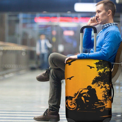 Biker Silhouette Luggage Cover