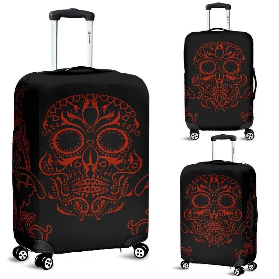 Bloody Skull Luggage Cover, Polyester/Spandex, Size S-M-L, Black with Red Skull Print