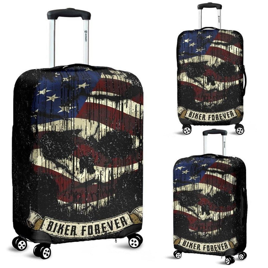 Shredded Skull American Flag Luggage Cover, Polyester/Spandex, Size S-M-L, Black with Skull Print