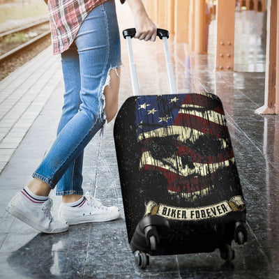 Shredded Skull American Flag Luggage Cover, Polyester/Spandex, Black/White/Red - American Legend Rider