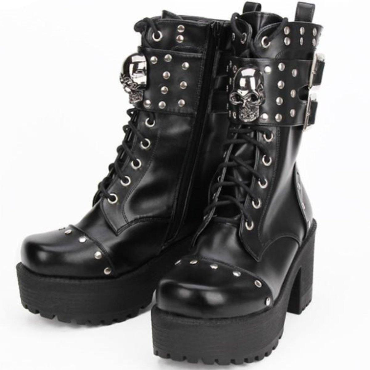 Heeled Gothic Skull Boots