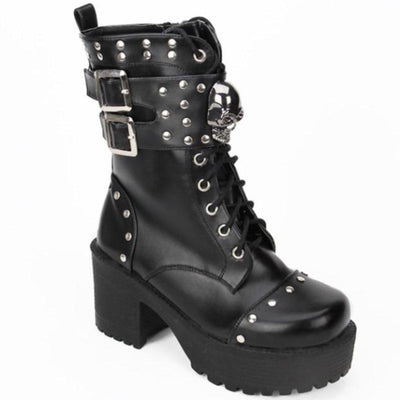 Heeled Gothic Skull Lace-Up Boots w/ Rivets, PU Leather, Black - American Legend Rider