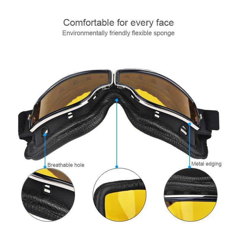 Vintage Aviator Motorcycle Goggles, Unisex Anti-sandstorm Goggles with Adjustable Strap, UV Protection, One Size, Black ABS Frame, Yellow