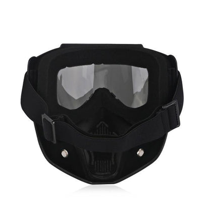 Motorcycle Antifog Dustproof Goggles w/ Face Mask, TPEE/Polycarbonate, Black Frame