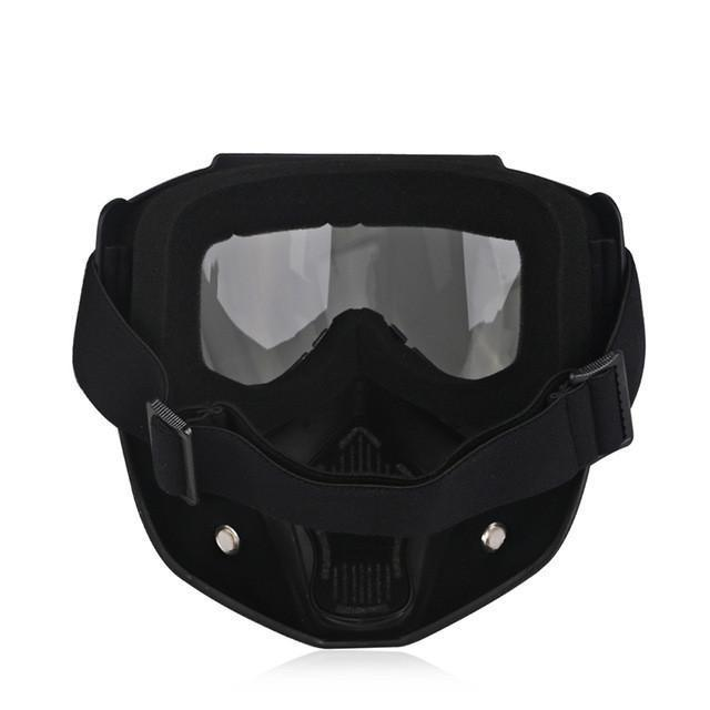 Motorcycle Antifog Dustproof Goggles with Face Mask, Unisex, TPEE/Polycarbonate, Black Frame