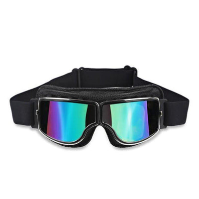 Vintage Aviator Motorcycle Goggles w/ Adjustable Strap, One Size, Black ABS Frame, Colorful Lens