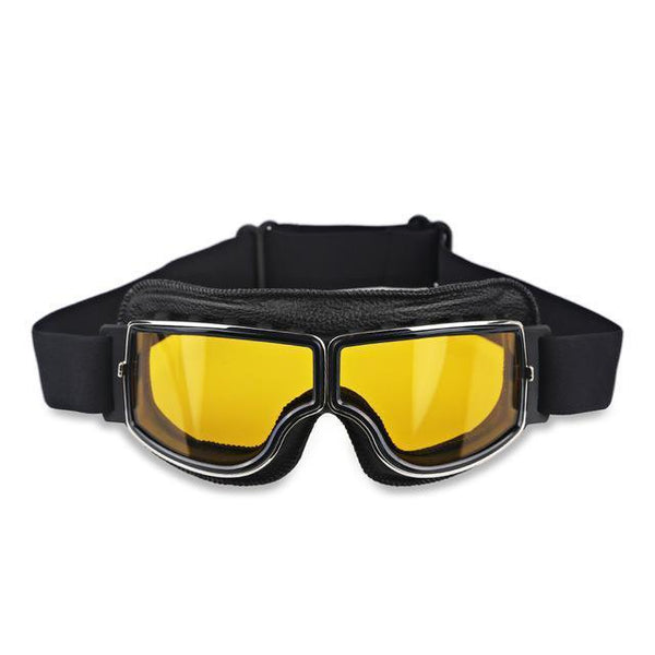 Vintage Aviator Motorcycle Goggles w/ Adjustable Strap, One Size, Black ABS Frame, Yellow Lens