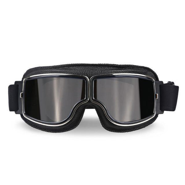 Vintage Aviator Motorcycle Goggles w/ Adjustable Strap, One Size, Black ABS Frame, Gray Lens