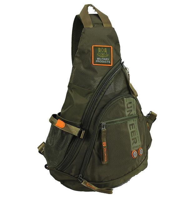 Biker Sling Backpack Single Strap Rucksack, Waterproof - Black/Green/Army Green/Grey-Green
