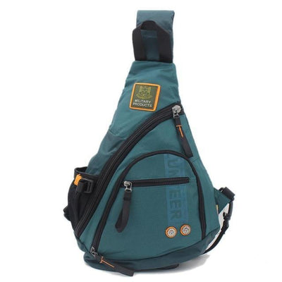 Biker Sling Backpack Single Strap Rucksack, Waterproof Oxford, Black, Green, Army Green, Grey Green