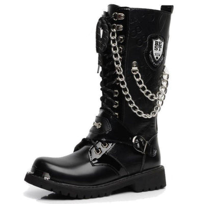 Mid Calf Punk Motorcycle Boots