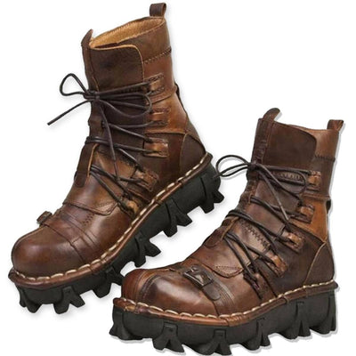 Badass Handmade Leather Boots, Size US 7-13.5, Brown, Black - American Legend Rider