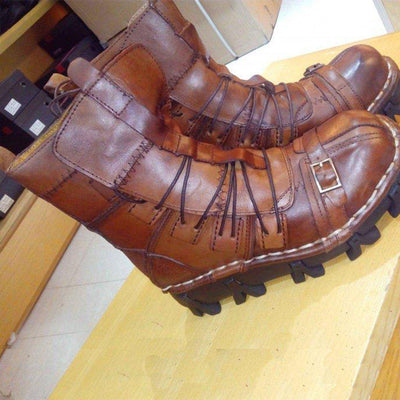 Men's Badass Handmade Leather Boots, Size US 7-13.5, Brown, Black