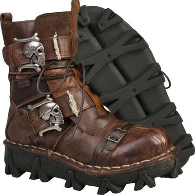 Handmade Skull Leather Boots, Size US 7-13, Brown + Free Leg Bag