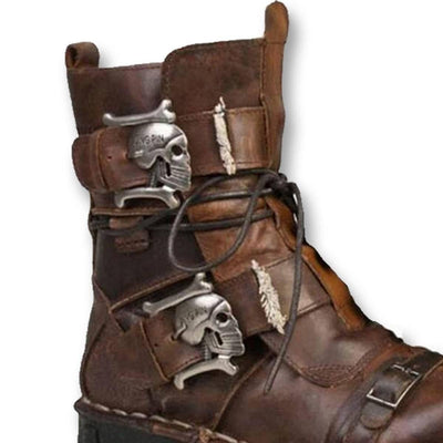 Handmade Leather Skull Boots