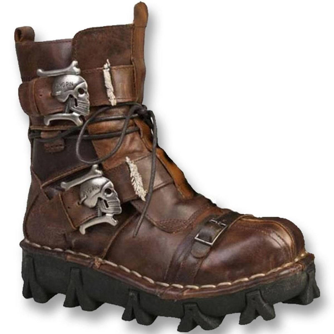 Handmade Leather Skull Motorcycle Boots