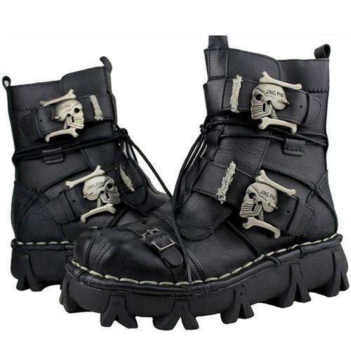 Men's Handmade Skull Leather Boots, Size US 7-13, Black + Free Leg Bag