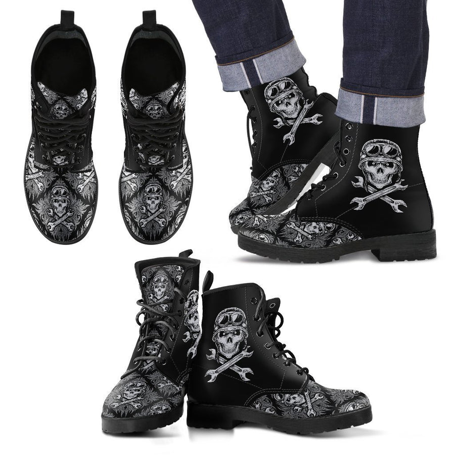 Skull Motif Gothic Biker Boots, Vegan-Friendly Leather, Black