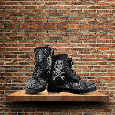 Skull Motif Gothic Biker Boots for Him & Her, Vegan-Friendly Leather, Size US 5-12, Black