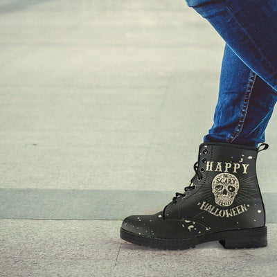 Gothic Halloween Biker Boots for Him & Her, Vegan-Friendly Black Leather - American Legend Rider