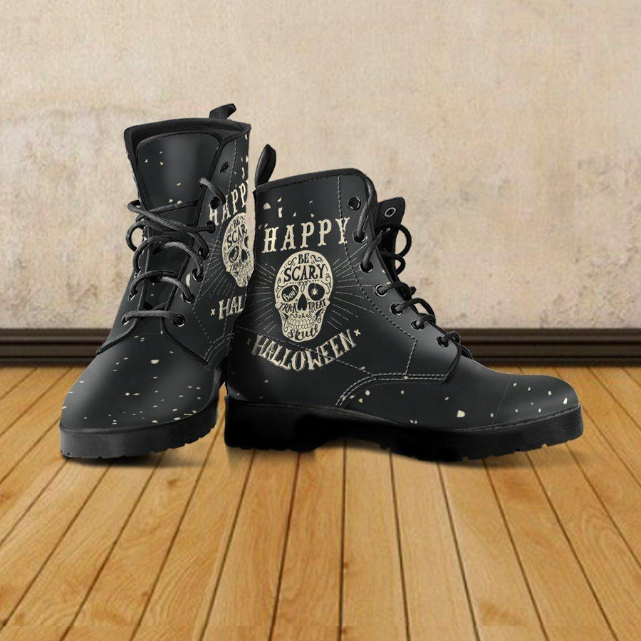 Gothic Halloween Biker Boots for Him & Her, Vegan-Friendly Black Leather