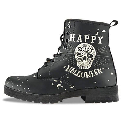 Gothic Halloween Biker Boots for Him & Her, Vegan-Friendly Leather, Size US 5-12, Black