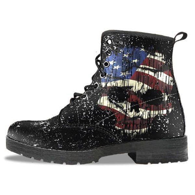 Shredded Skull American Flag Boots for Him & Her, Black - American Legend Rider