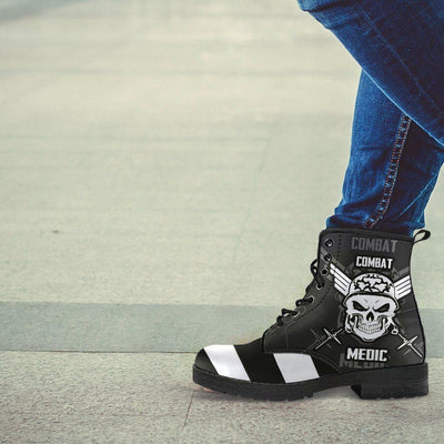 Stripey Skull Leather Boots - American Legend Rider