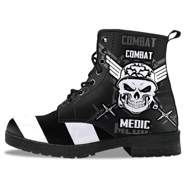 Stripey Skull Leather Boots