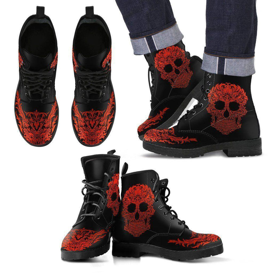 Women's Bloody Skull Boots, Vegan-Friendly Leather, Black/Red