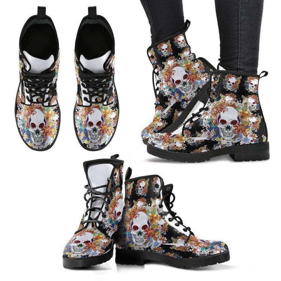 Women's Flowery Skull Boots, Vegan-Friendly Leather, Size US 5-12, Black/White/Orange