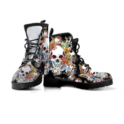 Flowery Skull Leather Boots