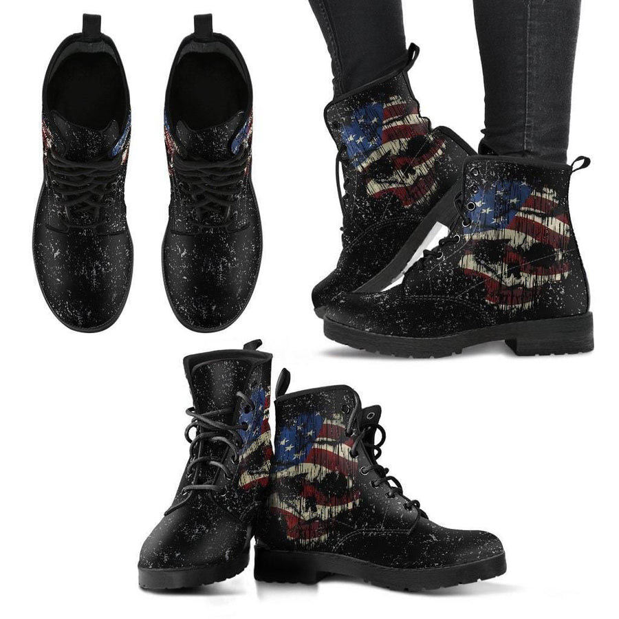 Unisex Shredded Skull American Flag Boots, Black, US 5-12