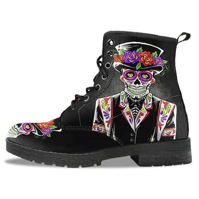 Sugar Skull Day of the Dead Lace-Up Boots, Vegan-Friendly Leather, Black w/ Double-Sided & Toe Print