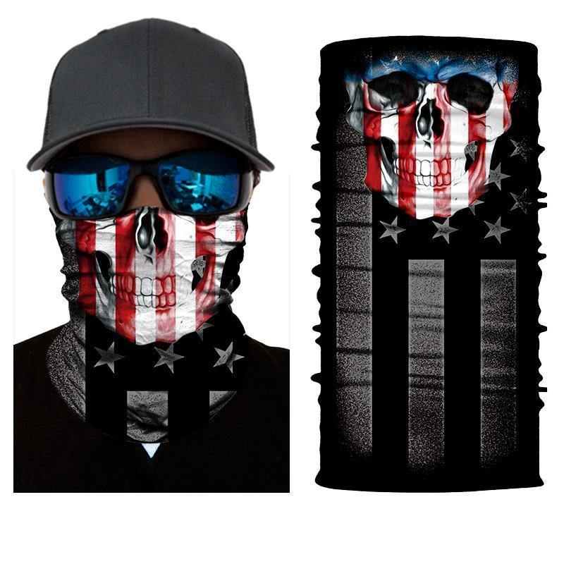 USA Flag Skull Motley Tube, Polyester, One Size, Black - American Legend Rider