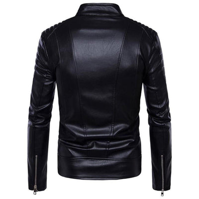 Turtleneck Motorcycle Black Faux Leather Jacket