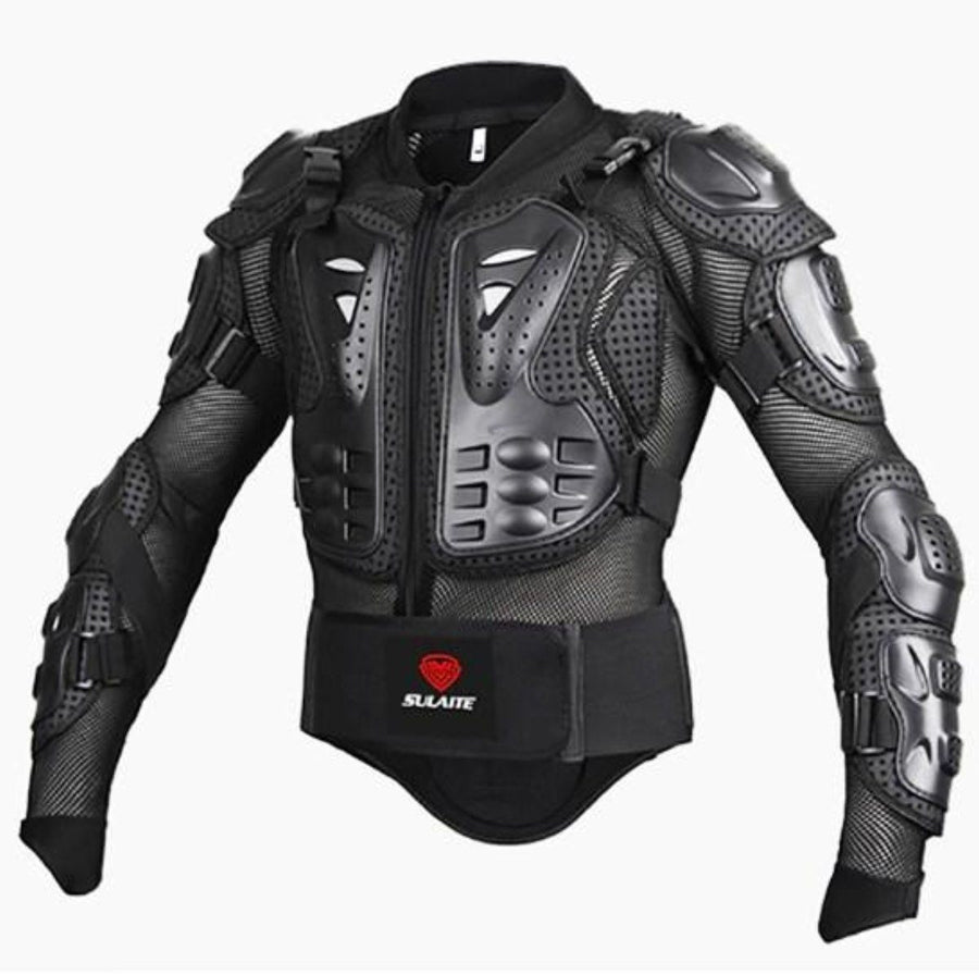 Men's Motorcycle Protective Armor Jacket, PVC/Lycra/EVA, S-3XL, Black, Red