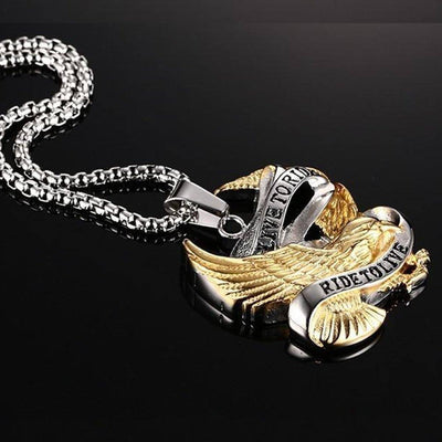 Bikers Live To Ride, Ride To Live Necklace, Eagle Pendant w/ Stainless Steel 20 in Box Chain