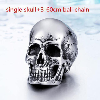 Stainless Steel Rock Punk 3 Skulls Pendant Necklace - American Legend Rider