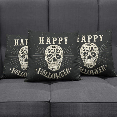 Happy Halloween Skull Print Pillow Cover, Cotton/Polyester, 17.7 x 17.7 In, Black