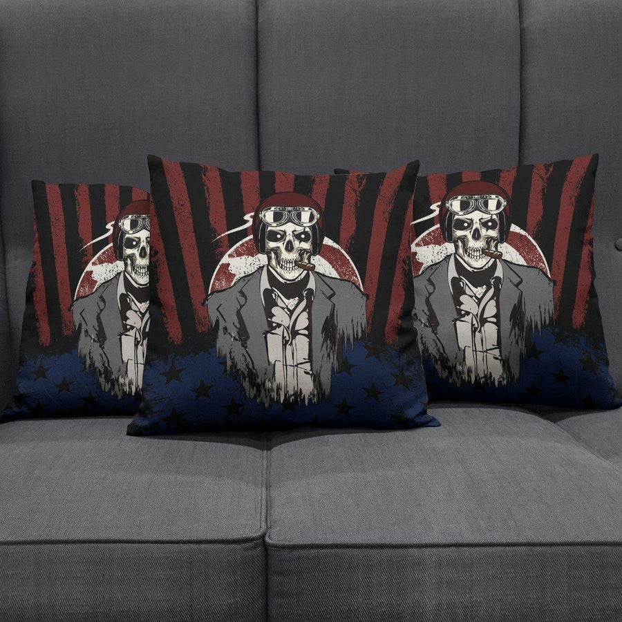 USA Skull Pillow Cover - American Legend Rider
